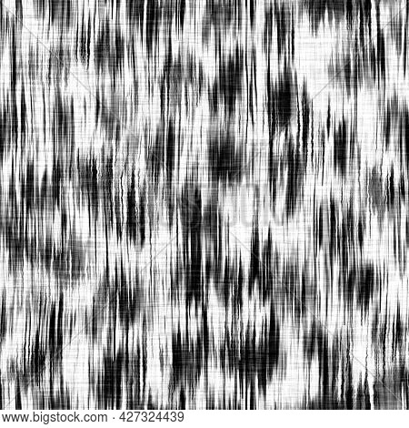 Seamless Black White Woven Cloth Geometric Linen Texture. Two Tone Monochrome Pattern Background. Mo