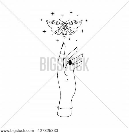 Mystic Celestial Night Butterfly With Constellation Stars Over Woman Hand Outline Silhouette. Vector