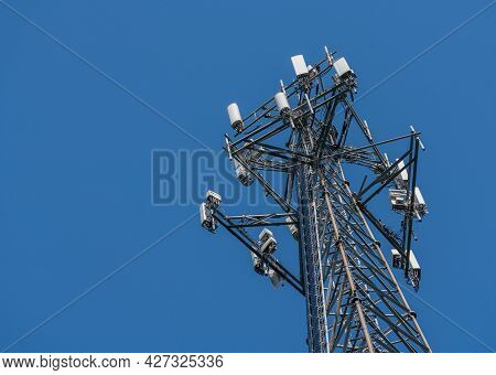 Aerial View Of Mobile Phone Cell Tower To Illustrate Lack Of Broadband Internet Service In Rural Are