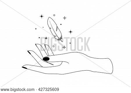 Mystic Celestial Feather With Constellation Stars Over Woman Hand Outline Silhouette. Vector Illustr