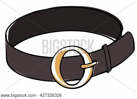 Leather Belt With Golden Clasp, Modern Accessories