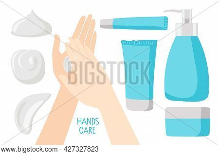 Hand Skin Care Cosmetics. Human Hands Use Cream, Light Blue Tubes And Dispenser With Cream Or Lotion