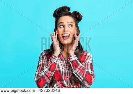 Making Announcement. Portrait Of Happy Pinup Woman In Retro Outfit Shouting, Holding Palms Near Mout