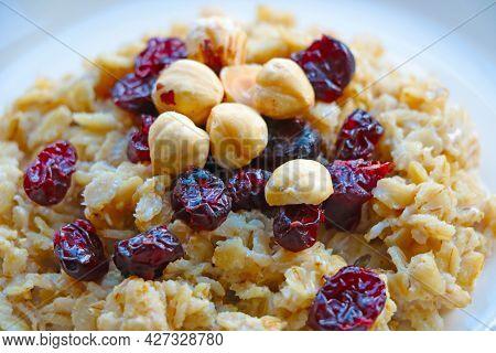 Light Breakfast, Porridge With Nuts And Cranberries