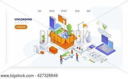 Unloading Cardboard Box, Landing Page Design, Website Banner Vector Template. Relocation Services.