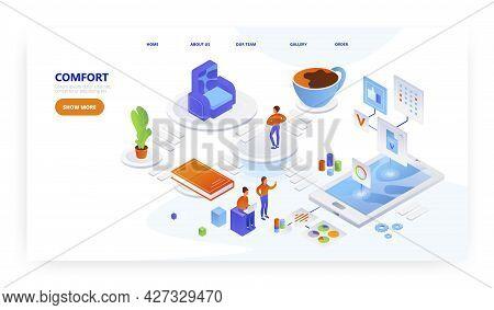 Comfort, Landing Page Design, Website Banner Vector Template. Home Comfort App.