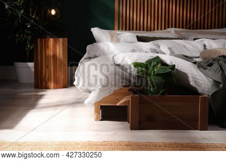 Houseplant In Wooden Crate Near Bed Indoors