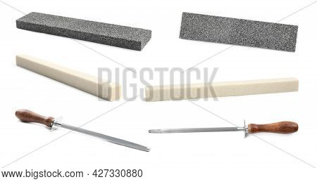 Set With Different Sharpeners For Knife On White Background