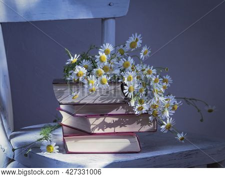 A Stack Of Old Books With A Bouquet Of Daisies.an Old, Crudely Painted Chair.copy Space .tinting In
