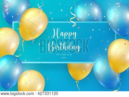 Elegant Blue Yellow Ballon And Party Popper Ribbon Happy Birthday Celebration Card Banner Template B