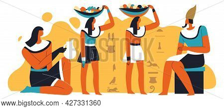 Pharoah And Slaves With Food And Drinks Serving