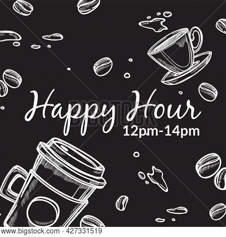 Coffee Shop Happy Hour 12 To 14 Pm Promo Banner