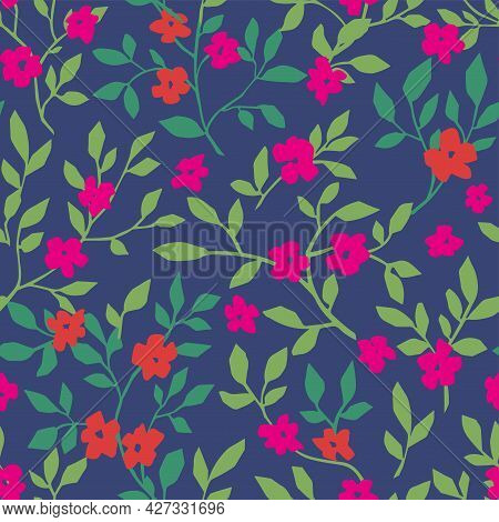 Floral Design With Flourishing And Foliage Pattern