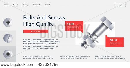 Bolts And Screws High Quality Website Page Vector