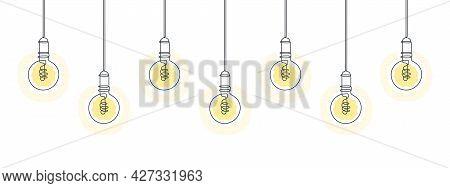Light Bulbs Line Art Design. Line Art Illustration. One Line Drawing Of Electric Light Bulbs. Vector