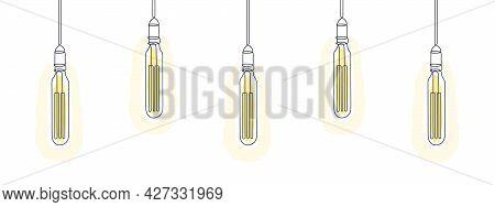 Loft Light Bulbs Line Art Design. One Line Drawing Of Electric Light Bulbs. Vector Illustration
