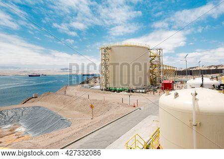 Desalination Plant At Port Punta Padrones With Caldera Bay On De Back, Caldera, Chile