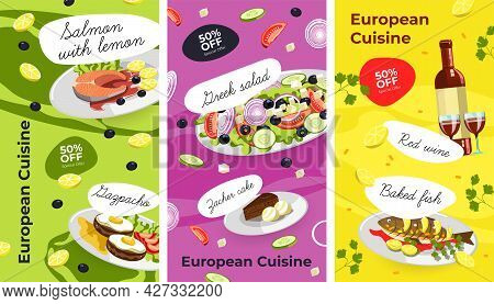 European Cuisine, Menu With Dishes And Discounts
