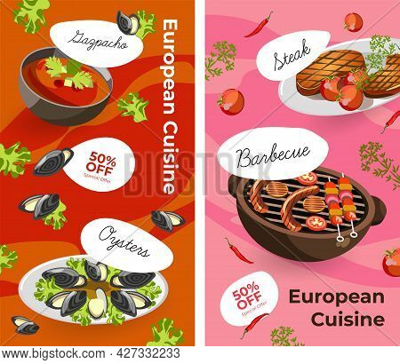European Cuisine, Menu With Promotion And Sales