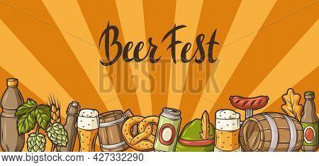 Illustration For Beer Festival Or Oktoberfest. Background For Pub Or Bar Menu And Flyers.
