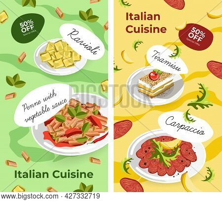 Italian Cuisine, Dishes And Desserts Poster Sale