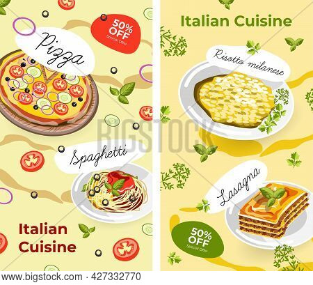Italian Cuisine, Menu And Promotions With Sales