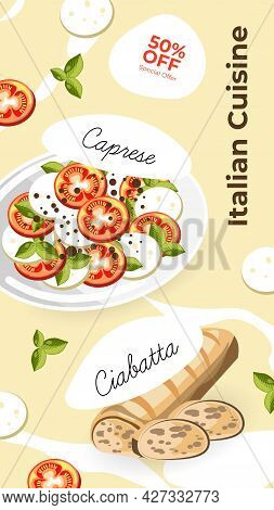 Italian Cuisine Menu Promotion Banner Or Poster