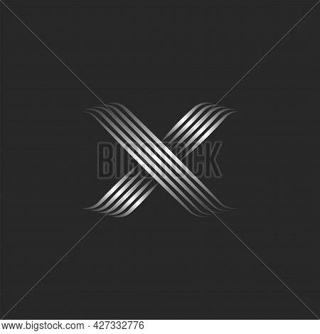Calligraphic Logo X Letter Monogram Design Template, Smooth Luxury Parallel Lines, Cross Symbol