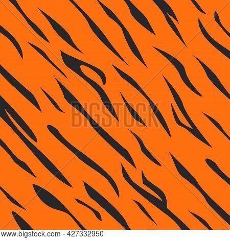 Tiger Skin Pattern Orange Background With Camouflage Diagonal Black Spots Vector Illustration.
