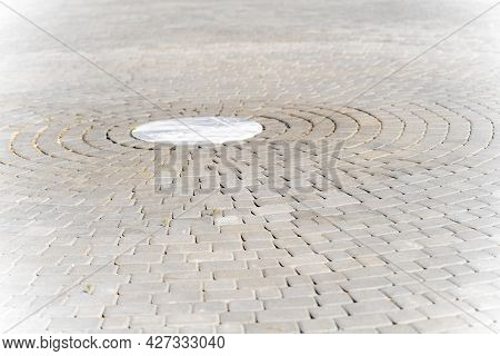 Paving A Circle Of Stones As A Durable And Decorative Coating, Paving Stones In A Circle, Background