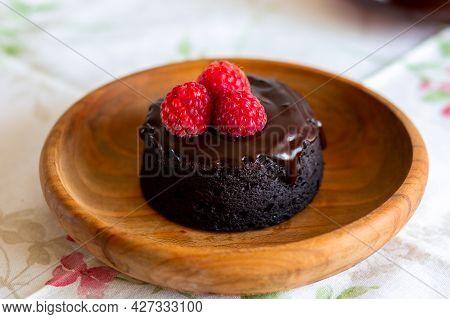 Chocolate Fondant Cake. Mini Cake For Fondant With Icing. Delicious  Dessert.homemade Chocolate Lava
