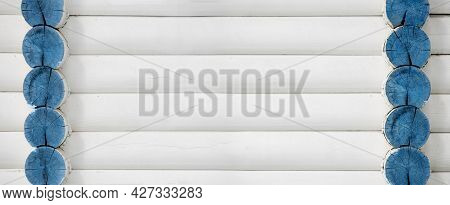 Log Wall Banner, Wooden Background, Wall Of A House Made Of Round Logs, Painted With White Paint
