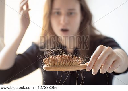 Hair Loss On The Comb, Massage Wooden Brush With A Clump Of Hair, Problem Of Growth, Hair Loss And H
