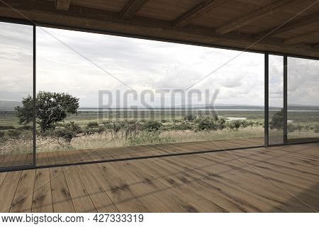 Empty Modern Design Outdoor Terrace With Sliding Patio Doors And Wooden Floor. Contemporary House 3d