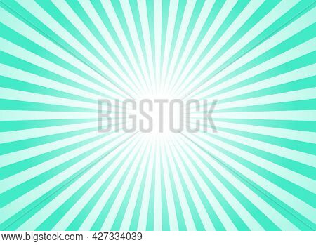 Sunlight Horizontal Background. Bright Turquoise Color Burst Background. Vector Illustration. Sun Be