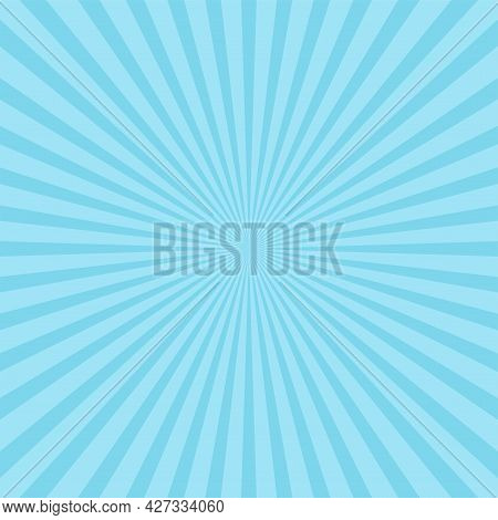 Sunlight Wide Horizontal Background. Blue Color Burst Background With Yellow Highlight. Fantasy Vect