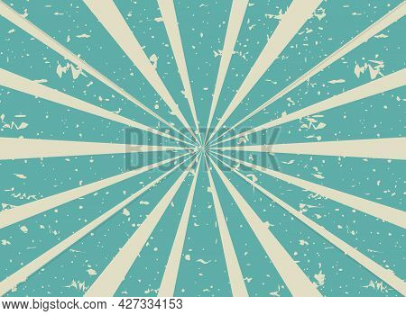 Sunlight Retro Faded Grunge Background. Blue And Turquoise Color Burst Background. Vector Illustrati