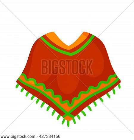 Poncho. Red And Orange Mexican Cape. The National Dress With Pattern. Ethnic Culture Of South Americ
