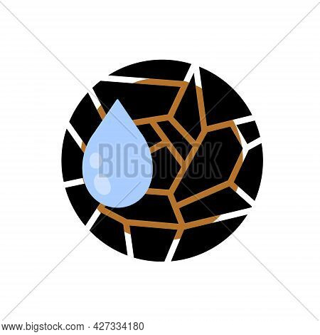 Dryness Icon. Blue Drop Of Water. Moisture And Humidity. Crack In Brown Ground. Broken Circle Surfac