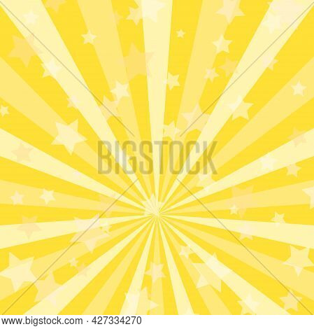 Sunlight Background. Golden Yellow Color Burst Background With Shining Stars. Vector Illustration. S