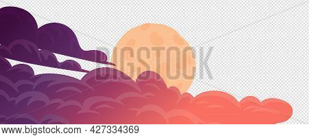 Clouds, Cartoon Vector Background. Evening Cloudsand Full Moom On White Background. Vector Illustrat