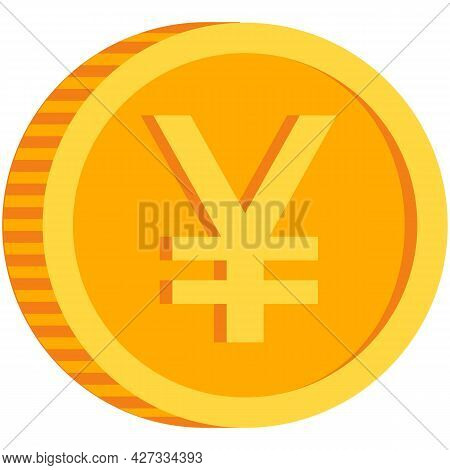 Chinese Yuan Coin Icon, Japanese Yen Vector Isolated Symbol