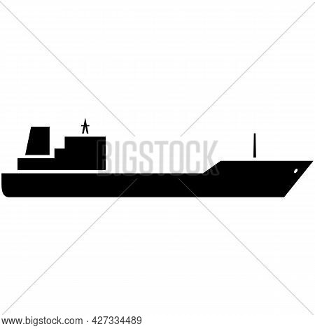Oil Ship Tanker Vector Cargo Vessel Silhouette On White