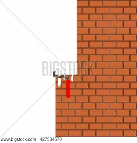 Brown Brick Wall Painted With White Paint Roller. White Background. Space For Text, Slogan, Quote An