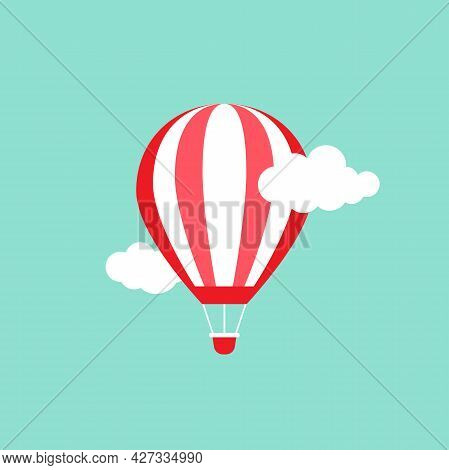 Orange Hot Air Balloon Flying In The Powder Blue Sky With Clouds. Flat Cartoon Design. Vector Backgr