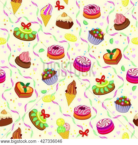 Seamless Pattern Ornament With Tasty Cakes And Sweets. Beautiful Wrapping Paper For Bakery And Pastr