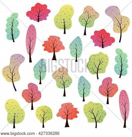 Large Collection Of Deciduous Cartoon Trees. Fairytale Forest With Plants Of Different Shapes And Co