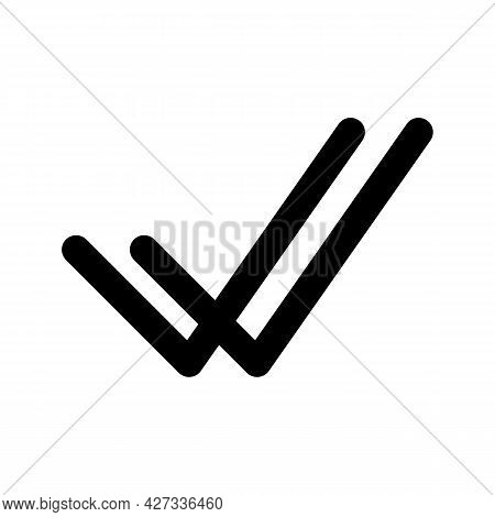 Double Check Vector Outline Black And White Icon