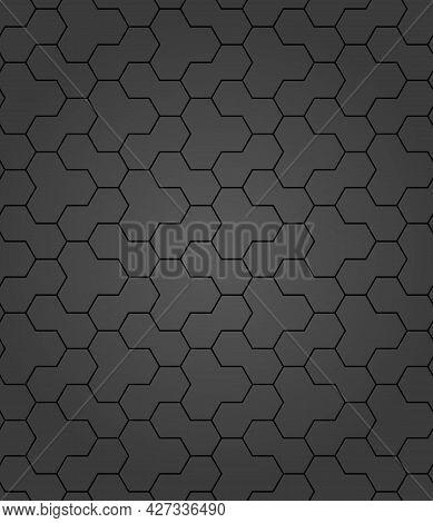 Geometric Abstract Vector Hexagonal Background. Geometric Modern Dark Ornament. Seamless Modern Patt