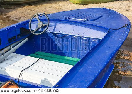 Aluminum Blue Fishing Boat With A Motor Near The Lake Shore, Fishing, Tourism, Active Recreation,ste